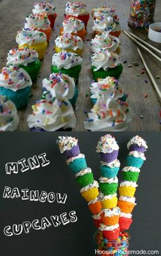 Mini Rainbow Cupcakes - multi-colored cupcakes with Buttercream Frosting and sprinkles served on a stick for fun! Pin to your Recipe Board!