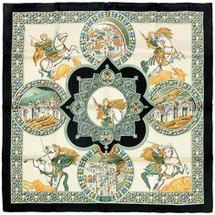 Auth Hermes Paris LE TRIOMPHE DU PALADIN Silk Scarf Foulard ABADIE 90cm #Hermes #ShawlWrap