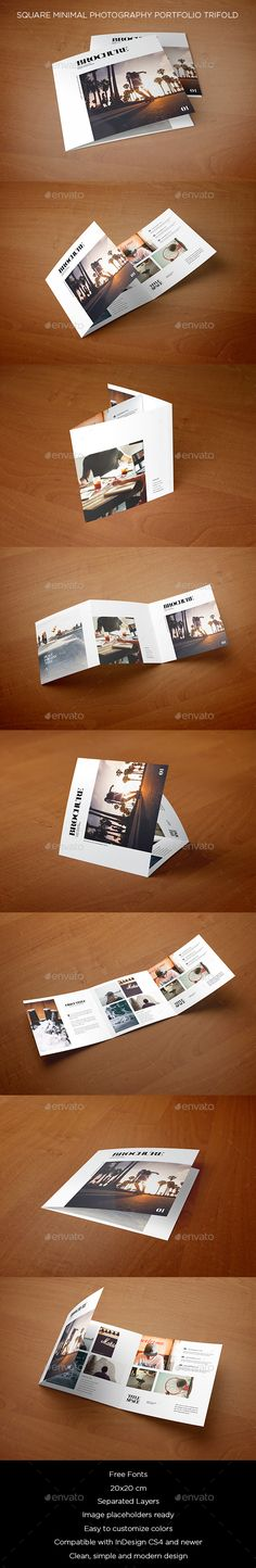 Square Minimal Photography Portfolio Trifold  -  InDesign Template • Only available here! →…