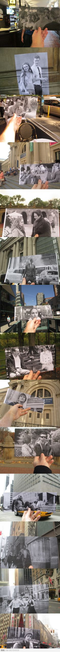 Cool~Lining up still photos from movies with the actual locations. Really like the idea!