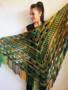 Green Crochet Shawl Wrap Triangle With Fringe Boho Colorful Shawl Rainbow Shawl Bohemian Multicolor Shawl Big Crochet Lace Knitted Shawl Knitting PatternsCrochet For BeginnersCrochet BlanketCrochet Baby Dishcloth Knitting Patterns, Knit Dishcloth, Lace Knitting, Crochet Patterns, Crochet Shawls And Wraps, Knitted Shawls, Crochet Scarves, Knitted Poncho, Crochet Cap