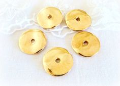 NEW Gold Plated Wavy Disc Thick Spacer Metal Beads by vess65, $2.90