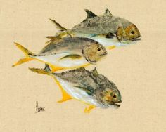 Jack Attack  Gyotaku Fish Rubbing  Limited Edition by fredfisher.etsy.com