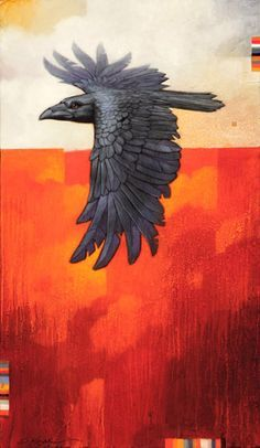 Craig Kosak painting of a raven bird-totem in flight inspired by native American folk beliefs Raven Bird, Quoth The Raven, Crow Art, Bird Art, Grandeur Nature, Jackdaw, Crows Ravens, Surrealism Painting, Southwest Art