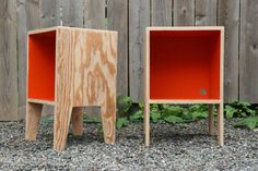 Items similar to ORANGE bedside table on Etsy Woodworking Furniture, Plywood Furniture, Pallet Furniture, Woodworking Crafts, Cool Furniture, Furniture Design, Furniture Plans, System Furniture, Plywood Table