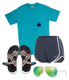 """""""Ootd- going to a football game!"""" by miss-southern-girl ❤ liked on Polyvore featuring NIKE, Chaco and Ray-Ban"""