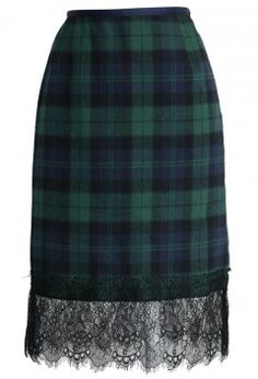 Lace Trimmed Tartan Pencil Skirt in Green - Retro, Indie and Unique Fashion