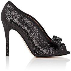 Valentino Garavani Women's Bow-Embellished Glitter Pumps ($499) ❤ liked on Polyvore featuring shoes, pumps, black, black peep toe pumps, black slip-on shoes, black bow pumps, slip-on shoes and black glitter pumps