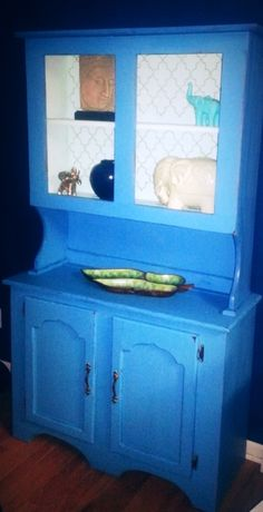 Blue hutch, repainted and stencil