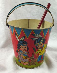 Ohio Art Co Vintage Tin Toy Pail Bucket Shovel w Native American Children
