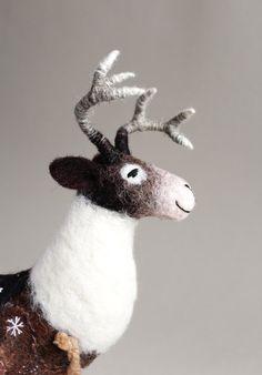 Felt Reindeer. Art Puppet Marionette Christmas Felt Deer Stuffed Animal Handmade Felted Toy  ----------------  *******This item is MADE TO ORDER.