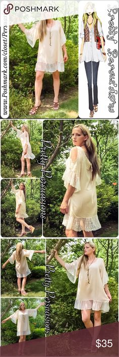 "NWT Lace Trim Exposed Shoulders Beige Shift Dress NOTE: This dress is oversized. A size Small will fit a Large, Medium an XL & Large XL/XXL   Available in sizes S (= L), M (= XL), L (= XL/XXL) Measurements taken from a Small (= LG)  Length: 36"" Bust: 46"" Waist: 48""  Features • relaxed, oversized flowy fit • soft, breathable material • beautiful lace trim bottom hemline & end of sleeves • ties at back w/small keyhole opening • open neckline • exposed/cold shoulders  100% Viscose  Bundle…"