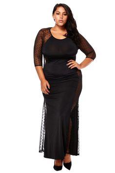 cd7ae3f728f Plus Size Mesh Side Contrast Maxi Dress – PLUSSIZEFIX Plus Size Clubwear
