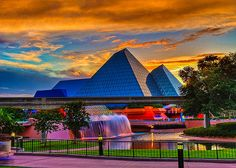 Imagine a Monorail at Sunset