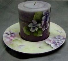 Hand Painted Candle Holder & Candle to match