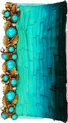 Valentino - Turquoise embellished ombre jade green to teal to black clutch purse Pierre Turquoise, Shades Of Turquoise, Bleu Turquoise, Shades Of Blue, Very Valentino, Valentino Garavani, Lila Gold, Tiffany Blue, Seed Beads