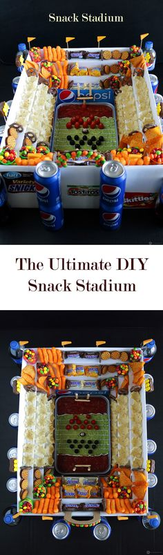 Surprise your family and friends with a DIY snack stadium as the centerpiece on your next game day party. Step wise instructions on the blog. #gamedayglory #ad