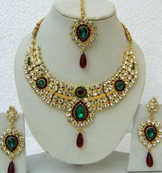 JNC2110 : Green, Maroon and Off White Stone Studed Necklace Set
