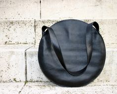 Black leather tote bag, circle bag, leather handbag, leather shoulder bag