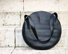 Black leather tote bag, circle bag, leather handbag, leather shoulder bag