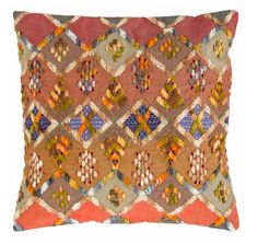 "Pine Cone Hill KENYA EMBROIDERED DECORATIVE PILLOW - 20"" x 20"" - No Insert Modern Throw Pillows, Decorative Throw Pillows, Geometric Throws, Dash And Albert, Lumbar Pillow, Blue Area Rugs, Kenya, Red And Blue, Bohemian Rug"