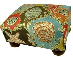 Multi Colored Seashells Upholstered Footstool Ottoman with Coordinated Multi Colored Seashells Decorative Throw Pillow - Made in the USA In the Garden and More http://www.amazon.com/dp/B00INZYTK6/ref=cm_sw_r_pi_dp_n23xub1T5GCWT