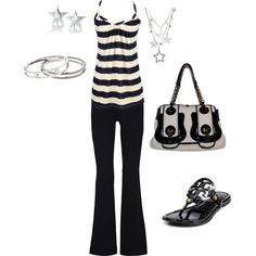 Ensembles : Dressy Casual : Summer : Black and White Striped Spaghetti Tank Top Black Flare Dress Pants : Black Grecian Sandals : Silver Star Earrings : Black and White Bag