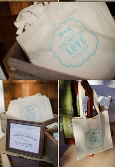 eco-friendly wedding favors. give reusable totes!