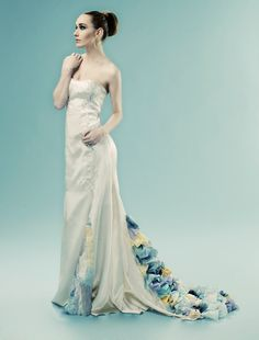 Wai-Ching, Aerial Dress, gown, bridal, multicolored 3D collaging in train, blues, silk, custom, $1,065