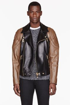 VERSACE Black & brown quilted LEATHER JACKET