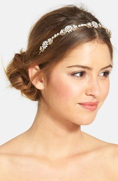WEDDING BELLES NEW YORK Crystal Floral Headband available at #Nordstrom