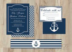 DIY Nautical Wedding Invitation Suite // Custom von lestudios, $45.00