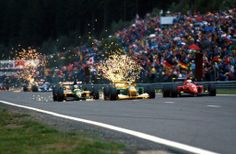 Mika Hakkinen, Michael Schumacher and Jean Alesi (Bélgica, 1992)