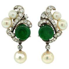 Art Deco Jade, Diamond, Pearl & Platinum Earrings, circa by foxasd Platinum Earrings, Jade Earrings, Jade Jewelry, Art Deco Earrings, Pearl Jewelry, Antique Jewelry, Jewelry Accessories, Vintage Jewelry, Pearl Earrings