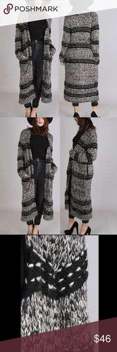 Beautiful Long Duster Cardigan Black/grey/white. Low hip level side slit pockets. Open front. 25% wool, 75% acrylic. As with all merchandise, seller not responsible for fit nor comfort. Brand new boutique retail. No trades, no off App transactions. SHIPS MONDAY  ❗️PRICE IS FIRM UNLESS BUNDLED❗️ Sweaters Cardigans