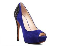blue and black sparkle heels
