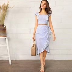 fb7b690c20 Boho Striped Ruffle Trim Shirred Crop Cami Top and Wrap Knotted Skirt Women  Set - Blue