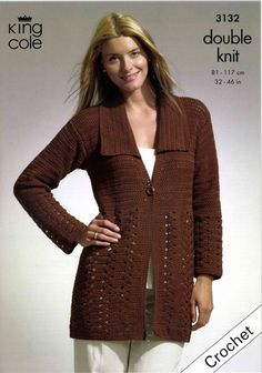 Crochet Jacket and Tunic in King Cole Bamboo Cotton DK - 3132. Discover more Patterns by King Cole at LoveKnitting. The world's largest range of knitting supplies - we stock patterns, yarn, needles and books from all of your favorite brands.