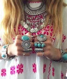Some jewels of my gypsy collection  Mood for this summer  I prepare a beautiful shooting for the summer with  beautiful things  GYPSY LOVE  #gypsy #jewels #gypsy #collection #mood #for #this #summer #turquoise #and #silver #rings #necklace #bracelets #pink #dress #hippy #bohemian #style #gypsylove #love #louanne  by ___gypsylove___