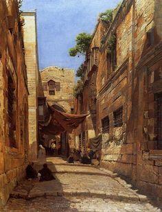 A street in Jerusalem mid 1800s. Looks very much like those lovely kasbah neighborhoods of Algiers. Artist Alberto Pasini.
