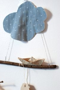 I feel inspired by this mobile!  What about if you did the story of Noah on a mobile... perhaps one  with the ship and waves spinning around it and clouds above, and another with the ship on ground, a light bulb with crystals around it to make rainbows, with a dove spinning around it.