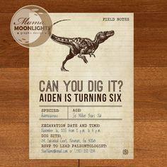 Dinosaur Birthday Party Vintage Printable Invitation - DIY - Dig, Bones, Fossil, T-Rex  - Older Boy Birthday
