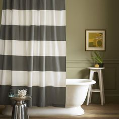 Stripe Shower Curtain - Feather Gray Get in line. Our Stripe Shower Curtain keeps the bathroom looking clean in pure cotton. Wide bands pair perfectly with modern tiles or traditional tubs. Modern Shower Curtains, Bathroom Shower Curtains, Bath Shower, Kitchen Curtains, Diy Shower, Shower Door, Bath Tubs, Interior Exterior, Interior Design