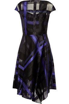 Lela Rose Draped plaid fil coupé dress | THE OUTNET