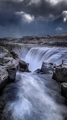 Dettifoss - Vertical panorama of this great waterfall in north Iceland