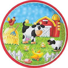 "On The Farm Dessert Plate Measures 7"", includes 8 in a package"