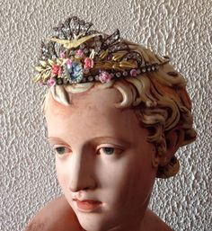 Fairy Sparrow vintage czech tiaraglass cabochon by Lunabarocca