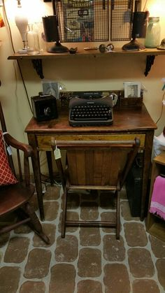 #Cushman_colonial_desk...late 1800's with a portable #Remington_Rand_typewriter and a vintage masonic folding chair. In my booth #45 at #Old_Town_Antiques in Doolittle MO.