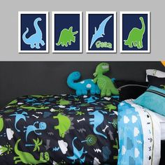 Custom Personalized Name Dinosaur Boy Print Artwork Set Of 4 Prints WALL Baby Decor ART Crib