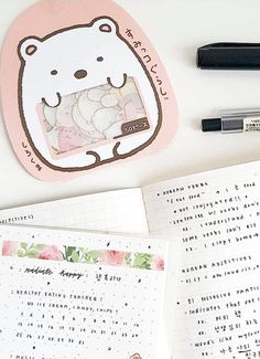 A close up on ig@lumstudie's study notes. Find the Sumikko Gurashi stickers and floral washi tape at kawaiipenshop.com   Kawaii Pen Shop